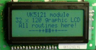 32 x 120 dots graphic LCD interface using VK5121 module