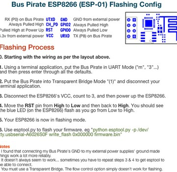 ESP8266 firmware flashing with a Bus Pirate