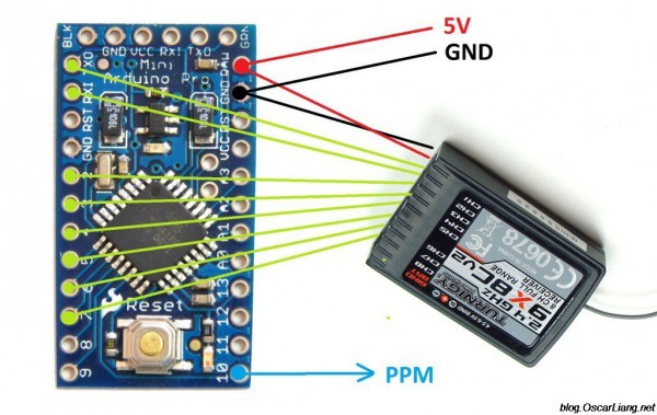 DIY PWM to PPM converter for 2.4GHz receiver using Arduino