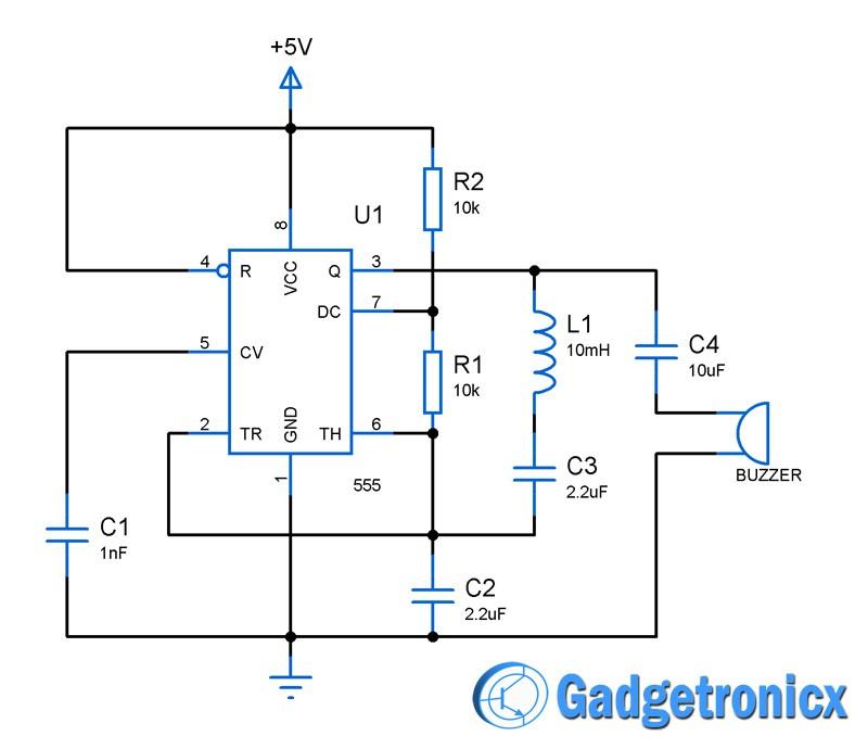 Metal detector circuit using IC 555