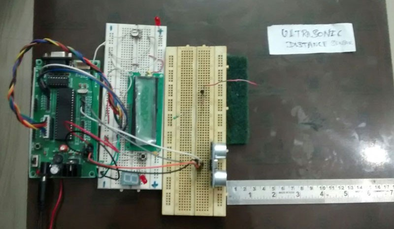 Ultrasonic distance meter using HC-SR04 and 8051