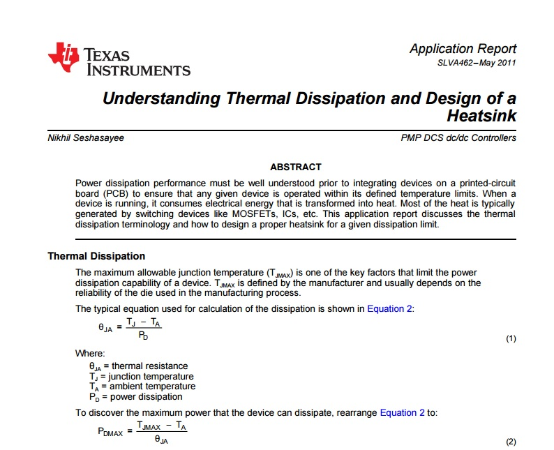 App note: Understanding thermal dissipation and design of a heat sink