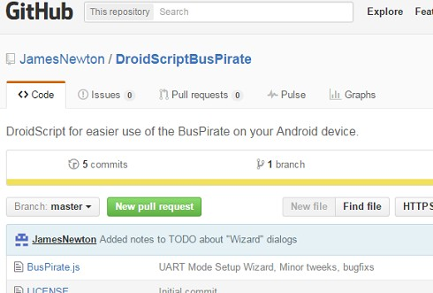 DroidScript, Bus Pirate helper app for your Android device