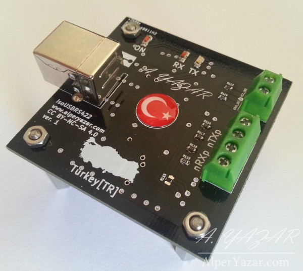 isoUSBRS422, an open source isolated USB-RS422/RS485 converter board