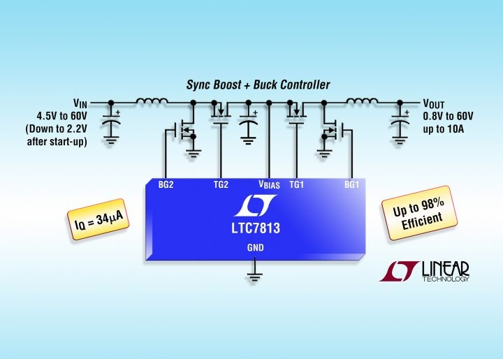 LTC7813 – IC cascades boost/buck controllers