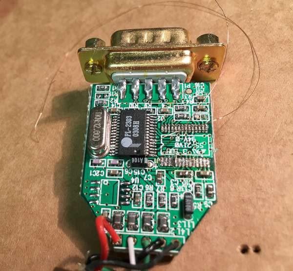Butchered USB TTL serial adaptor