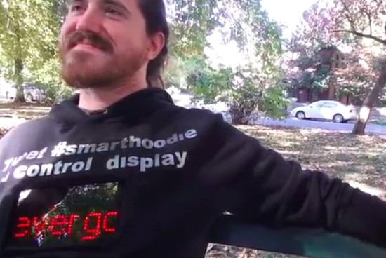 Wear a connected hoodie that displays tweets and text