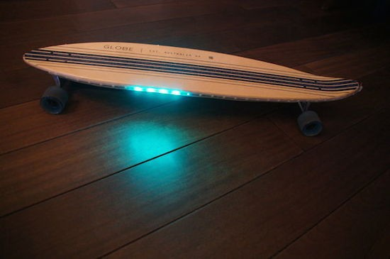 Ride an Arduino-powered longboard with speed-reactive LEDs