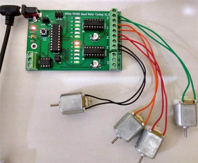 ATtiny based bidirectional motor control using L293D