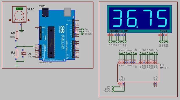Arduino 50V digital Voltmeter using MAX7219