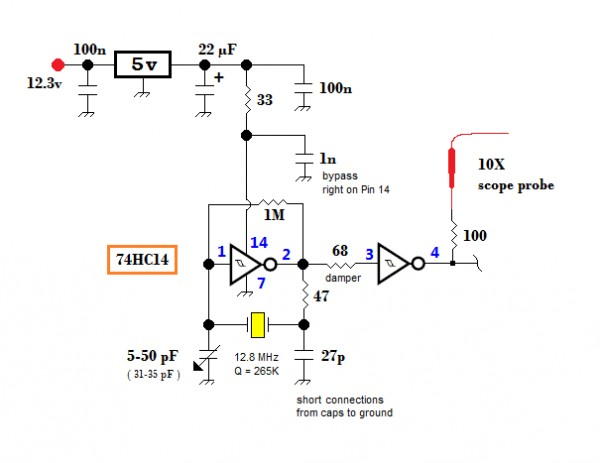 Inverter crystal oscillator