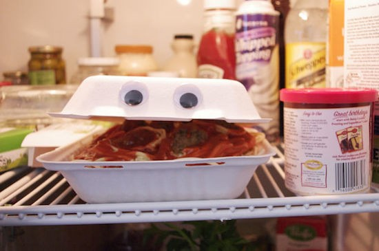 An animatronic talking takeout container