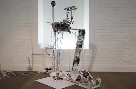 An electro-mechanical drawing machine driven by music