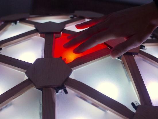 Interactive geodesic LED dome = extreme geometric fun!
