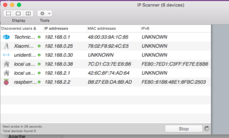 Raspberry Pi as Server - Open IP Scanner