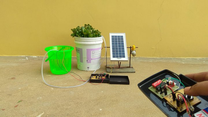 Solar powered Remote operated Plant watering system