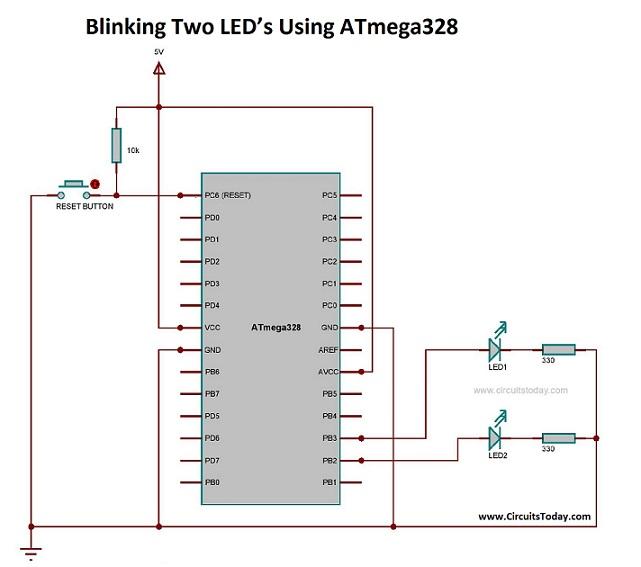 Blinking Two LED's Using ATmega328