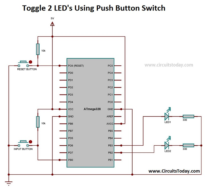 Toggle 2 LED's Using Push Button Switch - Circuit Diagram