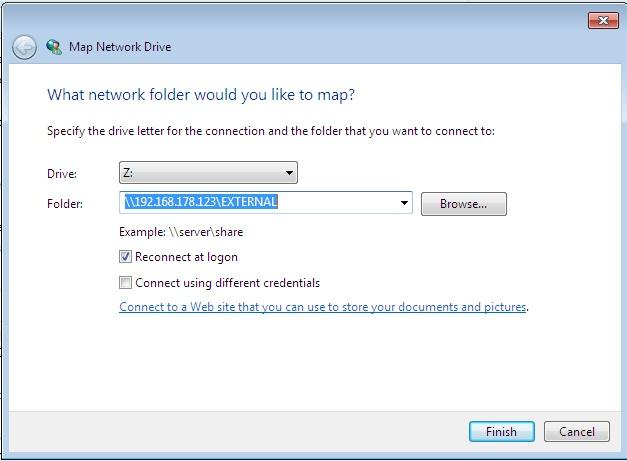Checking the external share of the DIY Raspberry Pi NAS server