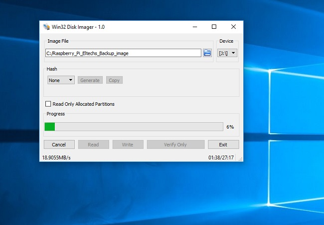 Backup Raspberry Pi SD card on Windows with Wins32DiskImager