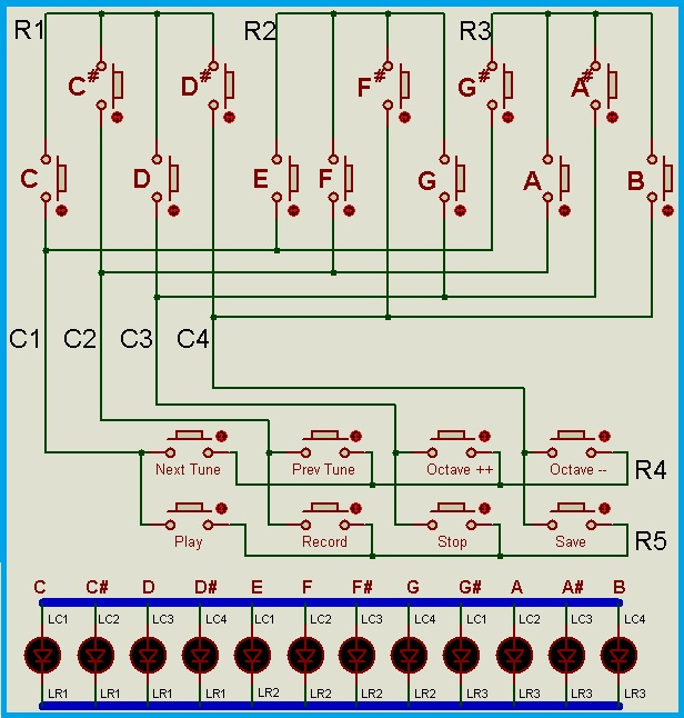 Musical Keyboard using ATmega8 - Circuit Diagram for Keypad and Key LEDs