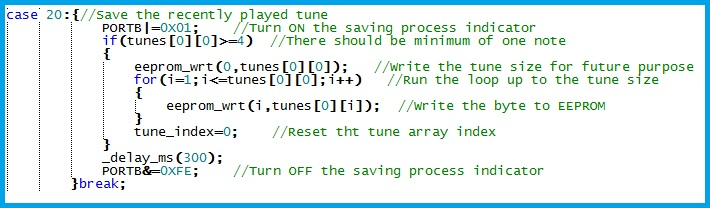 Program Snippet to Save a Tune