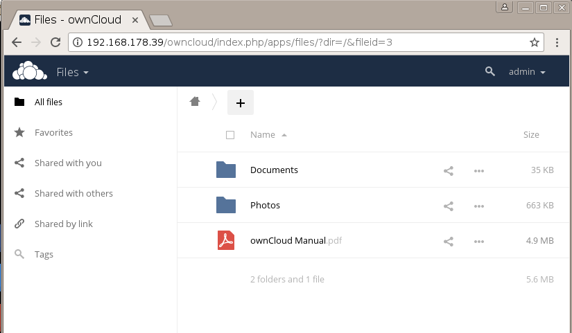 Login to your OwnCloud storage account
