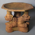 Three Foo Dogs Birdbath