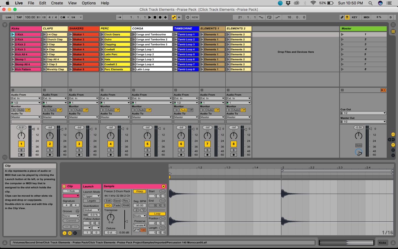 touchosc templates ableton - click track elements praise pack vol 1