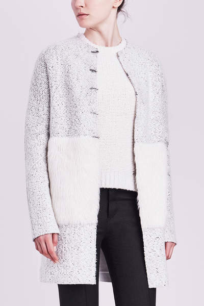 Elie Tahari Leeann Coat with Faux Fur