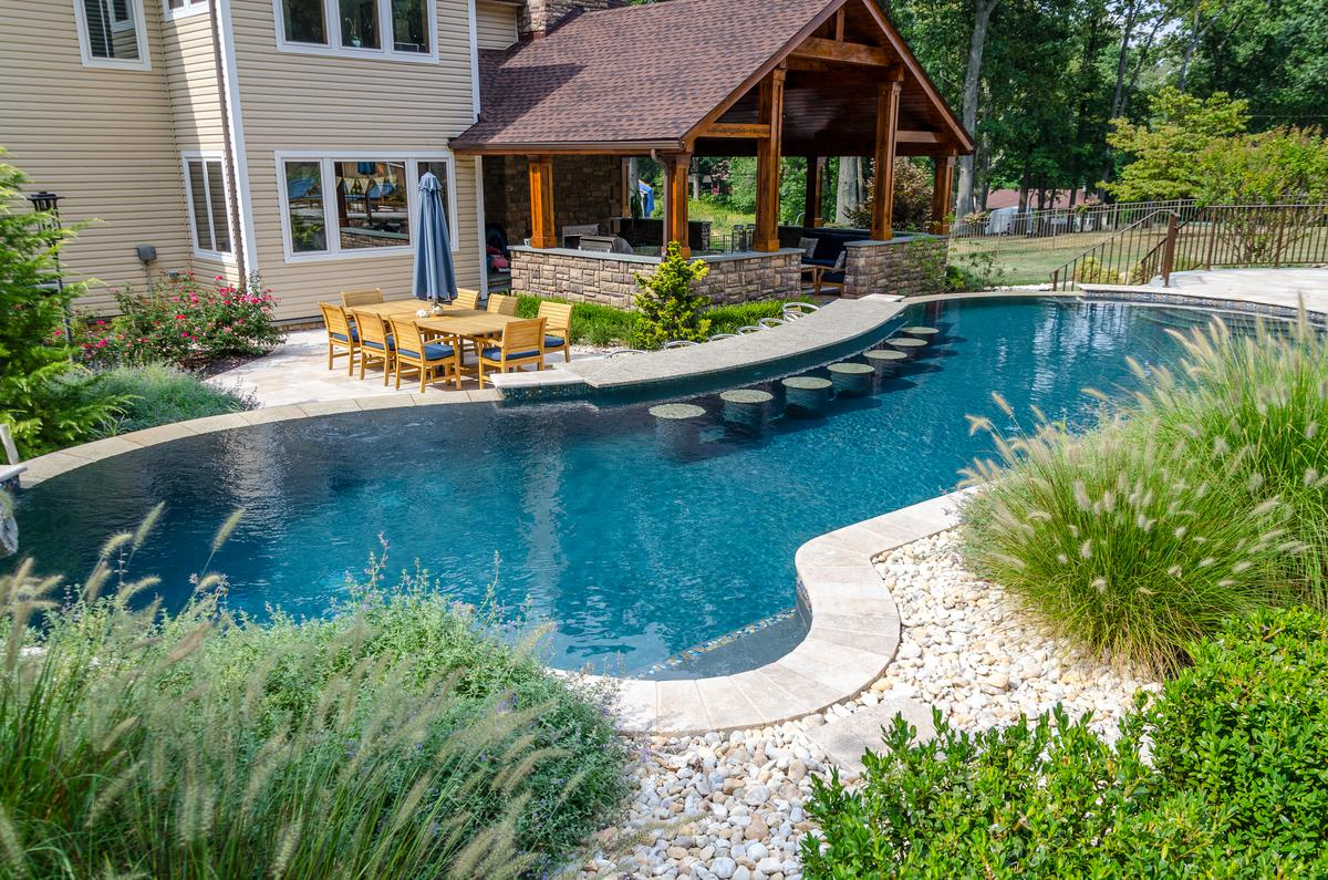 Great Gunite Swimming Pool. We Remove The Hassle Of Dealing With Multiple  Contractors To Complete One Backyard. We Have Developed An Amazing Team Of  Installers To ...