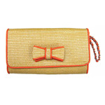 Front view of St. Barts Bow Clutch in Orange color option