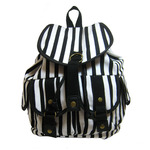 Front view of Seeing Stripes Canvas Backpack in Black/White