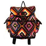 Front View of Tribal Tropics Canvas Backpack in Multi color option.