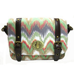 Front view of Watercolor My World Mini Messenger Bag in Mint color option