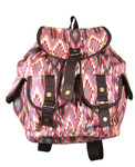 Front view of Navajo Desert Backpack in pink color option