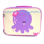 Front view of Beatrix NY Penelope the Octopus Lunchbox. Embroidered detail. Beige front with Lavendar sides and back with accents of pink.