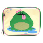 Front view of Beatrix New York Katarina the Frog Lunchbox. Beige front with bright green sides an back with pink accents. Top handle, all-around zipper and back zippered pocket.
