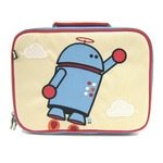 Front view of Beatrix New York Alexander the Robot lunchbox. Embroidered detail. Beige front and light blue sides and back. Name tag and zippered pocket on back.