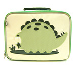 Front view of Beatrix New York Alister the Dinosaur lunchbox. Embroidered detail. Beige front and bright kelly green sides and back. Zippered pocket and name tag on back.
