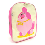Front view of Beatrix New York Pocchari the Poodle Toddler Backpack. Beige front, bright magenta sides and light pink back. Padded and adjustable backpack straps. Has hanging tab at top. Open velcro pocket on the side and inside zippered pocket.