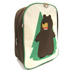 Front view of Beatrix New York Fernando the bear backpack. Embroidered detail. Beige front with dark brown sides and kelly green piping and back. Padded and adjustable backpack straps. Side open velcro pocket and inside zippered pocket.