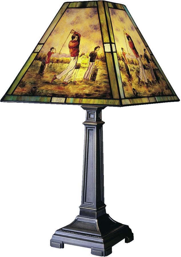 Dale Tiffany Sq Handle Golf Table Lamp