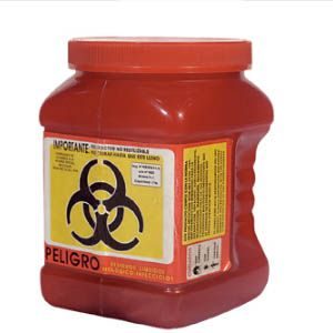 Recolector de polipropileno para punzocortantes color rojo 1.7 Lts. económico Cat A1C-PC-1NR A1 Contenedores