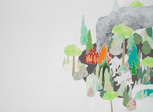 Full brian spolans 3 forest fire 26x36in 2007. watercolor pencil screen print and acrylic on paper