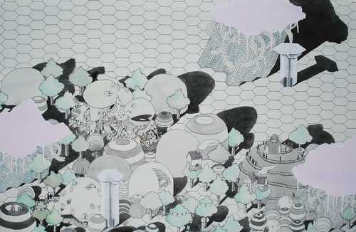 Full brian spolans clouds over hills 2009 26x40 acrylic pen and watercolor on paper