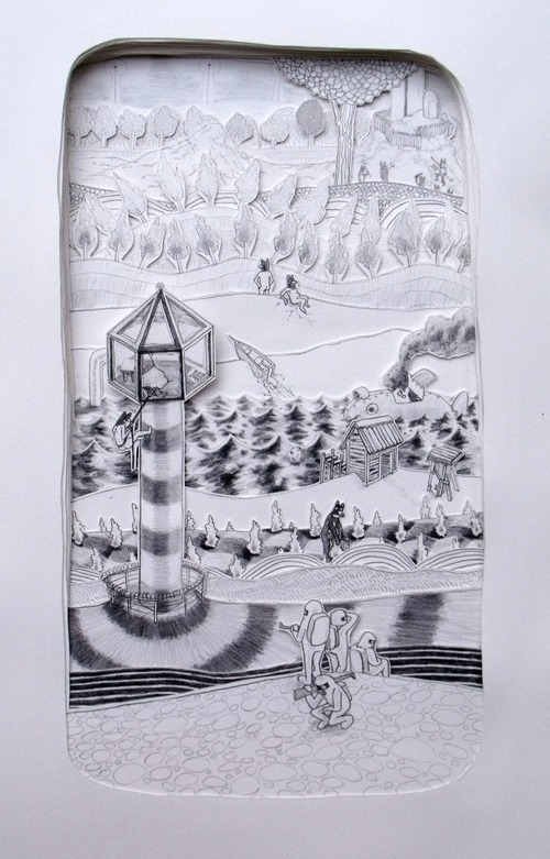Full brian spolans isolation tower 2010 17.5x26.5 pencil on paper