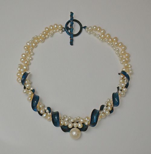 Full pearl antic blue necklace 4539