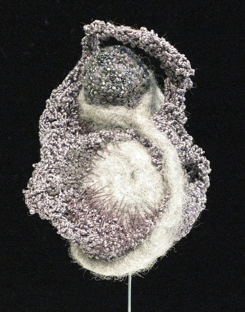Full boissey gray matter needle felted wool silk embroidery three dimentional stitching beading metal base