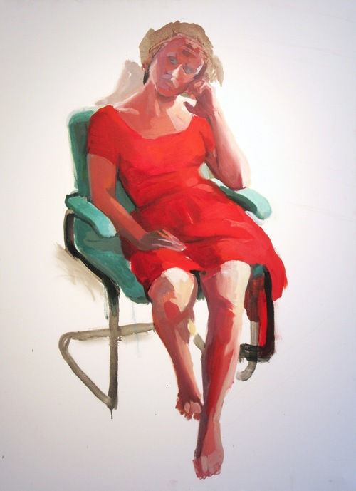 Full henkel reddress2 oil on canvas